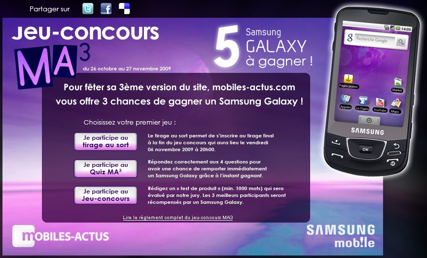 jeu concours 5 samsung galaxy sous android gagner androidphones fr. Black Bedroom Furniture Sets. Home Design Ideas